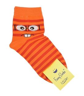 جوراب نیمساق فانی ساکس زنانه شکلک نارنجی