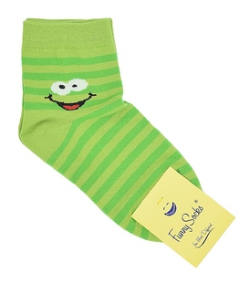 جوراب نیمساق فانی ساکس زنانه شکلک سبز روشن