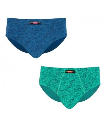 پک شورت مردانه اسلیپ نخی کیان تن پوش طرح ابر و باد سبز و آبی - بسته 2 عددی