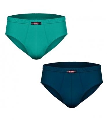 پک شورت مردانه اسلیپ نخی کیان تن پوش ساده سبز و آبی - بسته 2 عددی