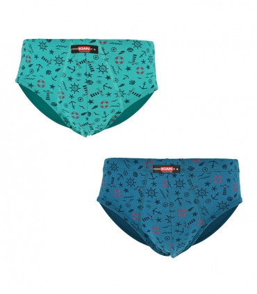 پک شورت مردانه اسلیپ نخی کیان تن پوش طرح ملوان سبز و آبی - بسته 2 عددی