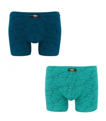 پک شورت مردانه پادار نخی کیان تن پوش مدل استاندارد طرح ابر و باد سبز و آبی - بسته 2 عددی