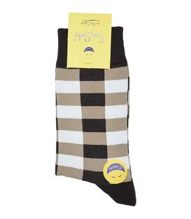 جوراب ساق دار فانی ساکس مردانه چهارخونه قهوهای