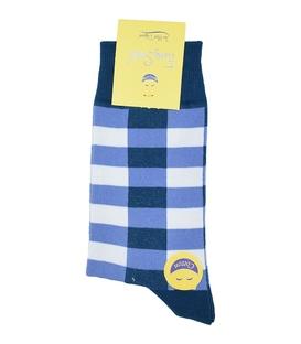 جوراب ساق بلند فانی ساکس مردانه چهارخونه آبی بنفش