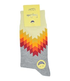 جوراب ساق بلند فانی ساکس مردانه دندان ارهای زرد نارنجی خاکستری