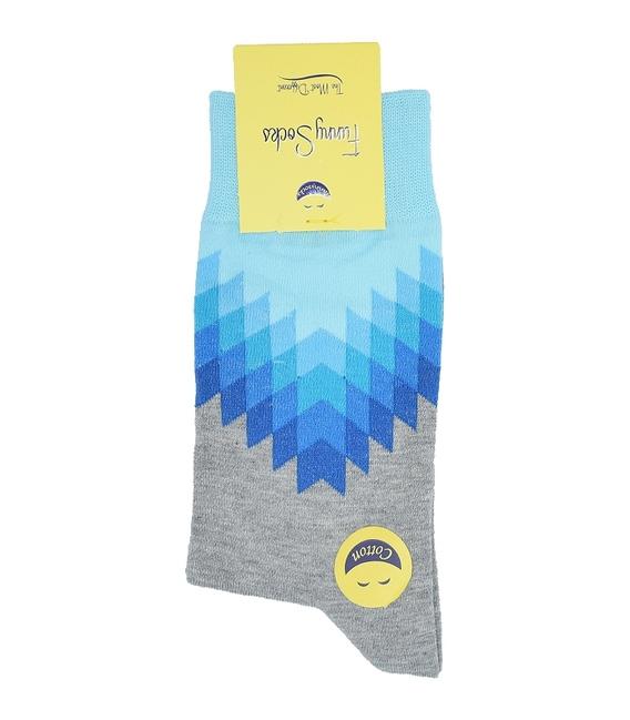جوراب ساق بلند فانی ساکس مردانه دندان ارهای آبی خاکستری