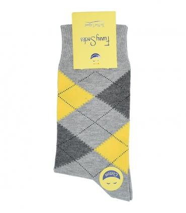 جوراب ساق بلند فانی ساکس مردانه Argyle خاکستری زرد
