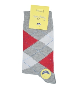 جوراب ساق بلند فانی ساکس مردانه Argyle خاکستری قرمز کرم