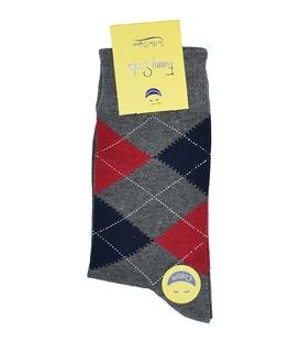 جوراب ساق بلند فانی ساکس مردانه Argyle خاکستری قرمز سرمهای