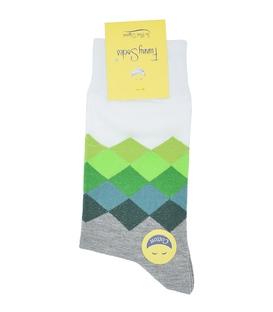 جوراب ساق بلند فانی ساکس مردانه الماس سفید سبز خاکستری