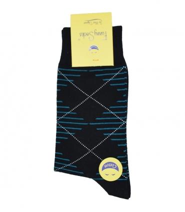 جوراب ساق بلند فانی ساکس مردانه لوزی راه راه آبی آسمانی