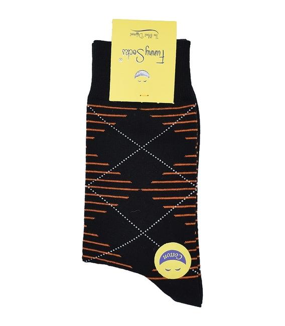 جوراب ساق بلند فانی ساکس مردانه لوزی راه راه نارنجی