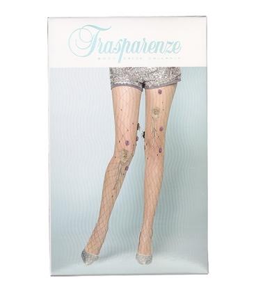 جوراب شلواری طرح فیش نت گل برجسته رنگ پا
