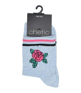 جوراب Chetic چتیک نیم ساق طرح گل آبی