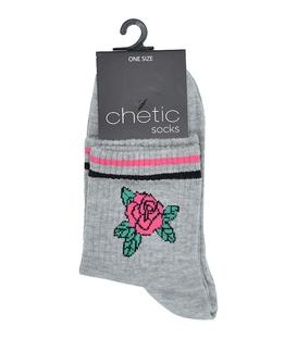 جوراب Chetic چتیک طرح نیم ساق گل خاکستری