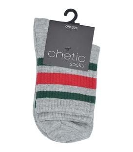 جوراب Chetic چتیک نیم ساق طرح سه خط خاکستری