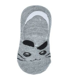 جوراب کالج بچهگانه پشت ژلهای گوشدار طرح گربه خاکستری