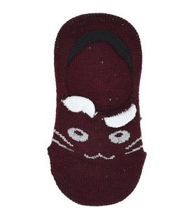 جوراب کالج بچهگانه پشت ژلهای گوشدار طرح گربه زرشکی