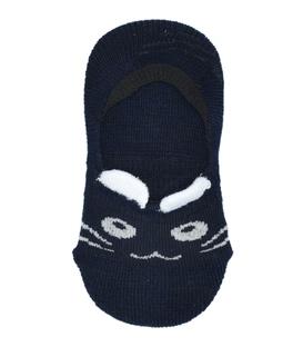 جوراب کالج بچهگانه پشت ژلهای گوشدار طرح گربه سرمهای