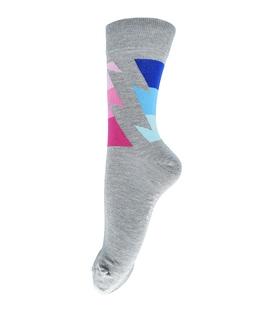 جوراب فانی ساکس ساق بلند طرح رعد خاکستری روشن آبی کد 123