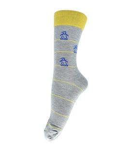 جوراب فانی ساکس ساق بلند طرح پنگوئن خاکستری زرد کد 127