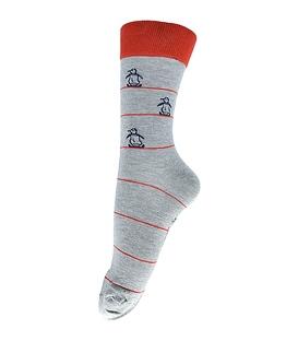 جوراب فانی ساکس ساق بلند طرح پنگوئن خاکستری قرمز کد 127
