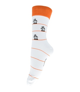 جوراب فانی ساکس ساق بلند طرح پنگوئن سفید نارنجی کد 127