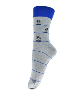 جوراب فانی ساکس ساق بلند طرح پنگوئن خاکستری آبی کد 127