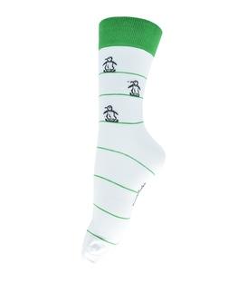 جوراب ساق دار فانی ساکس طرح پنگوئن سفید سبز کد 127