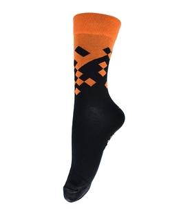 جوراب فانی ساکس ساق بلند طرح مربع مشکی نارنجی کد 128