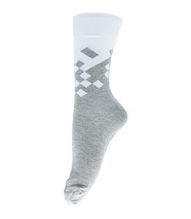 جوراب فانی ساکس ساق بلند طرح مربع سفید خاکستری کد 128