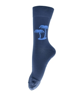 جوراب فانی ساکس ساق بلند طرح نخل سرمهای روشن آبی کد 129