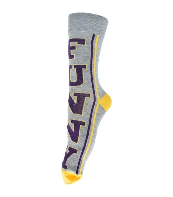 جوراب ساق دار فانی ساکس طرح Funny خاکستری زرد کد 137