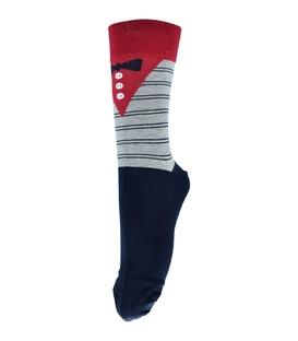 جوراب فانی ساکس ساق بلند طرح پاپیون سرمهای قرمز کد 138