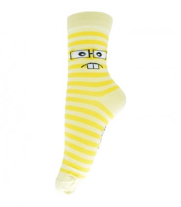 جوراب فانی ساکس ساق بلند طرح شکلک زرد کد 708