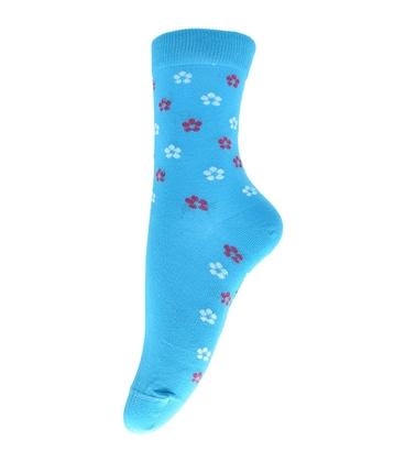 جوراب ساق دار فانی ساکس طرح گل گلی آبی کد 703