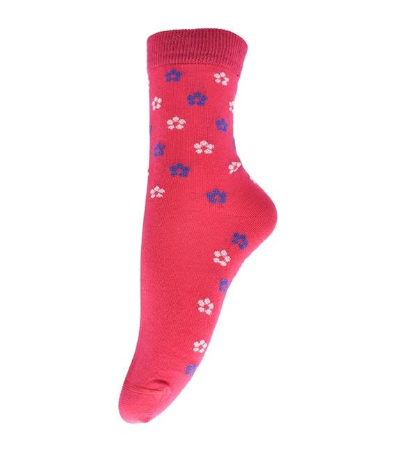 جوراب ساق دار فانی ساکس طرح گل گلی صورتی کد 703