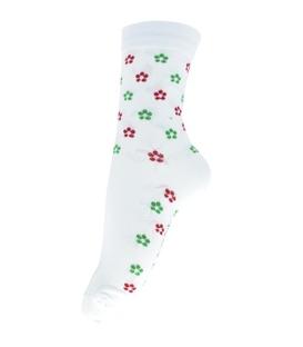 جوراب ساقدار فانی ساکس طرح گل گلی سفید کد 703