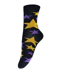 جوراب فانی ساکس ساق بلند طرح ستاره مشکی زرد کد 710