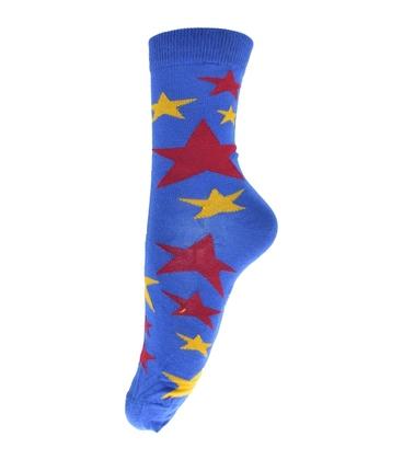 جوراب ساق دار فانی ساکس طرح ستاره آبی کد 710