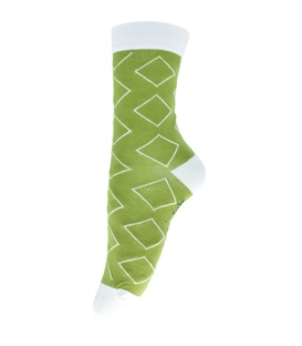 جوراب ساق دار فانی ساکس طرح لوزی زیتونی کد 713