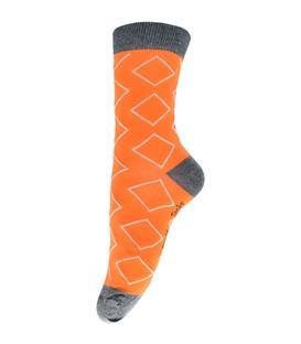 جوراب فانی ساکس ساق بلند طرح لوزی نارنجی کد 713