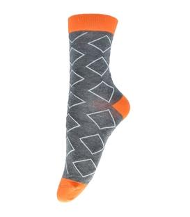 جوراب ساقدار فانی ساکس طرح لوزی خاکستری نارنجی کد 713