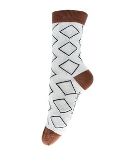 جوراب ساق دار فانی ساکس طرح لوزی کرم کد 713