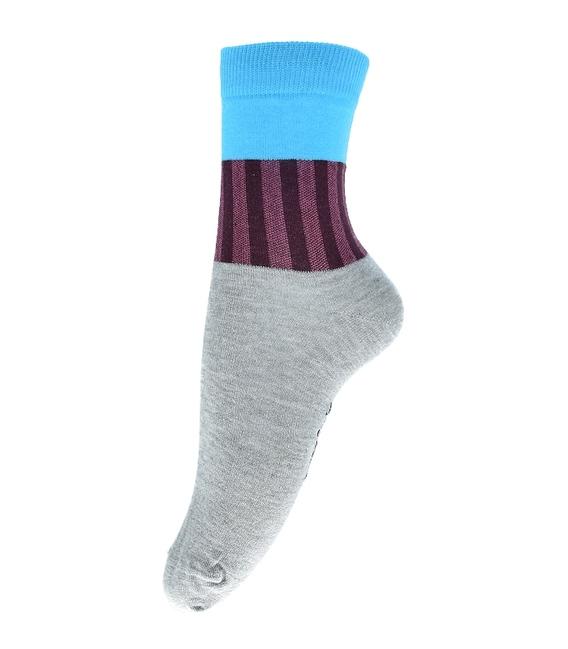 جوراب ساق دار فانی ساکس طرح سه رنگ خاکستری آبی کد 714