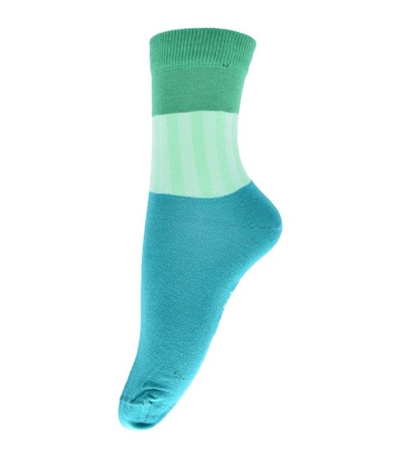 جوراب فانی ساکس ساق بلند طرح سه رنگ سبزآبی کد 714
