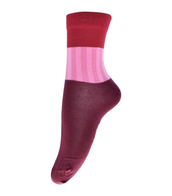جوراب فانی ساکس ساق بلند طرح سه رنگ زرشکی قرمز کد 714