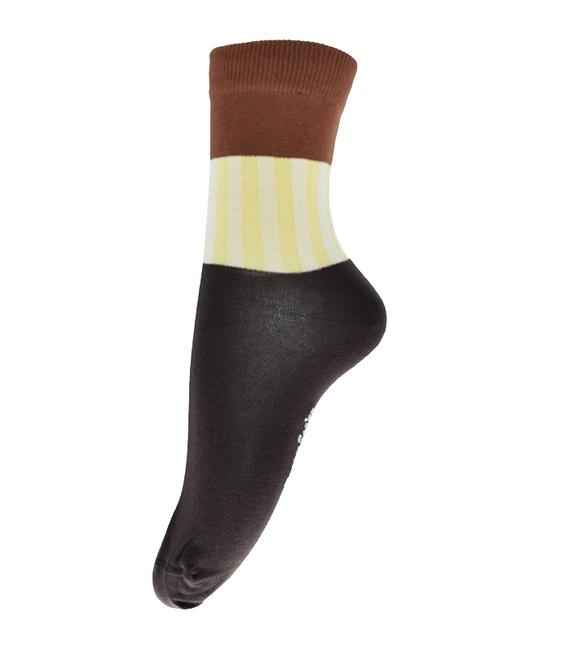 جوراب فانی ساکس ساق بلند طرح سه رنگ قهوهای کد 714