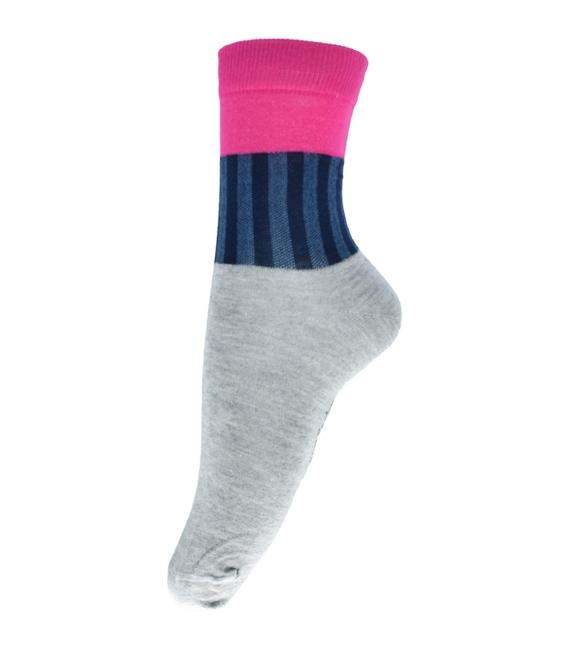 جوراب فانی ساکس ساق بلند طرح سه رنگ خاکستری صورتی کد 714