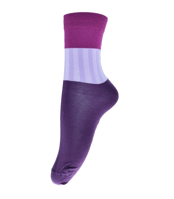جوراب فانی ساکس ساق بلند طرح سه رنگ بنفش کد 714